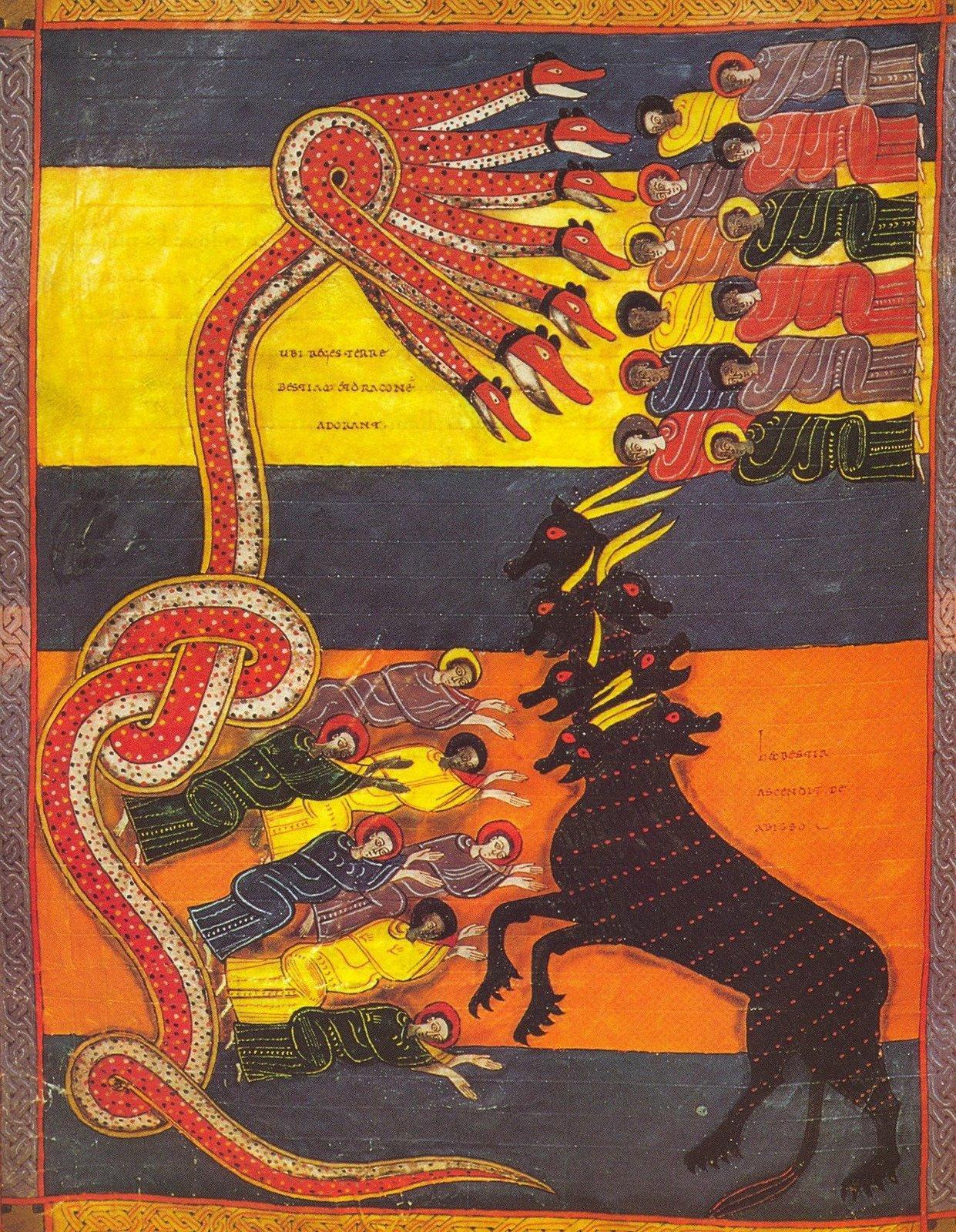 Beatus de Facundus (1047) – Le Dragon donne de sa puissance a la Bête - Enluminure sur parchemin - 29 x 22 cm - Bibliothèque nationale - Madrid